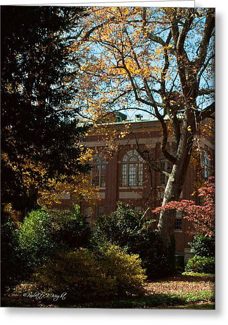 Looking Back At The Martin Chemistry Lab - Davidson College Greeting Card by Paulette B Wright