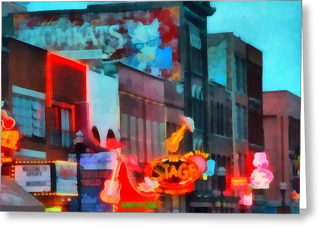 Looking Down Broadway In Nashville Tennessee Greeting Card by Dan Sproul