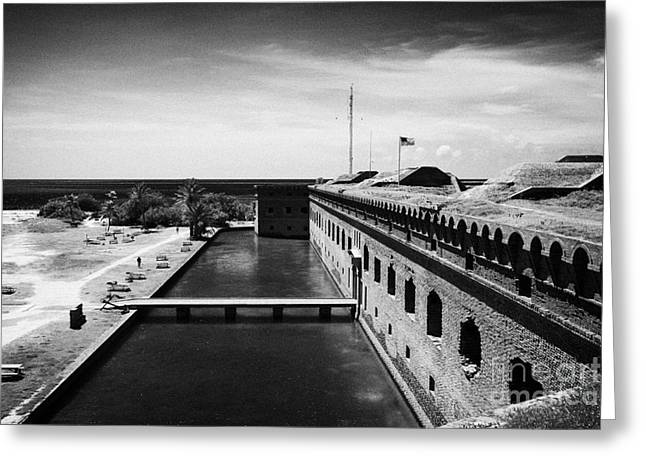 Looking Down From Basion Walls Over Moat Sally Dock Entrance To Fort Jefferson Dry Tortugas National Greeting Card by Joe Fox