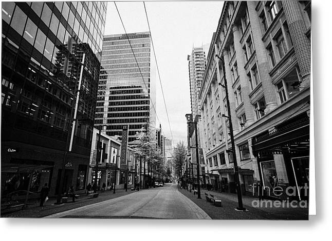 looking down granville street shopping area between the bay and pacific centre Vancouver BC Canada Greeting Card