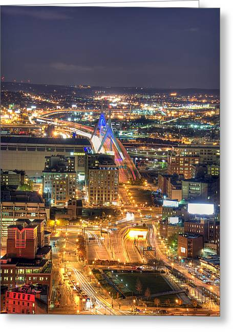 Looking Down -  Boston Skyline Aerial Greeting Card by Joann Vitali