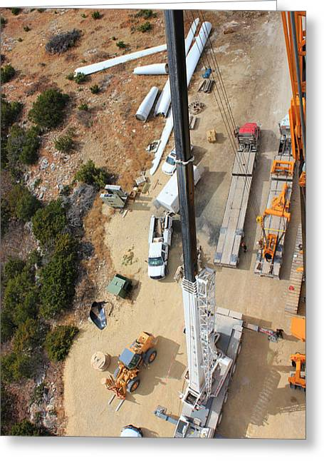 Looking Down On Dissembling A Crane... Greeting Card
