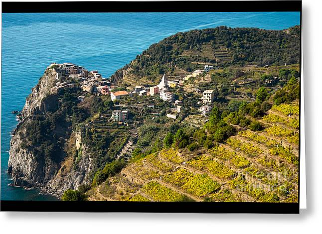 Looking Down Onto Corniglia Greeting Card by Prints of Italy