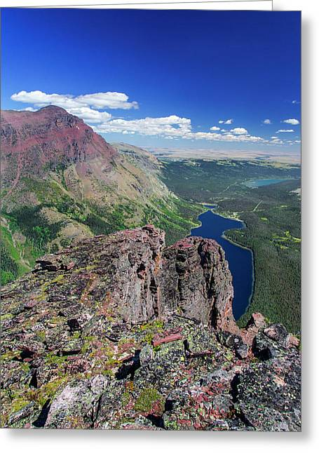 Looking Down Onto Two Medicine Lake Greeting Card