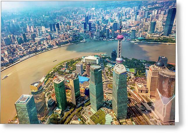 Looking Down Oriental Pearl Tv Tower Greeting Card