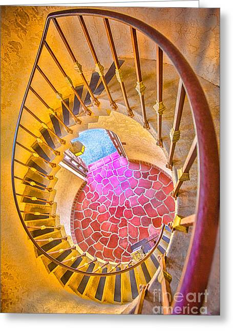 Looking Down The Spiral Staircase Greeting Card