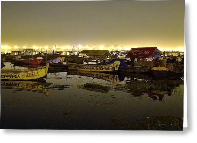 Searching For A Boat - Kumbhla Mela - Allahabad India Greeting Card by Kim Bemis