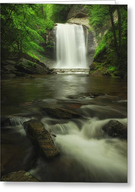 Greeting Card featuring the photograph Looking Glass Waterfall In Colour by Photography  By Sai
