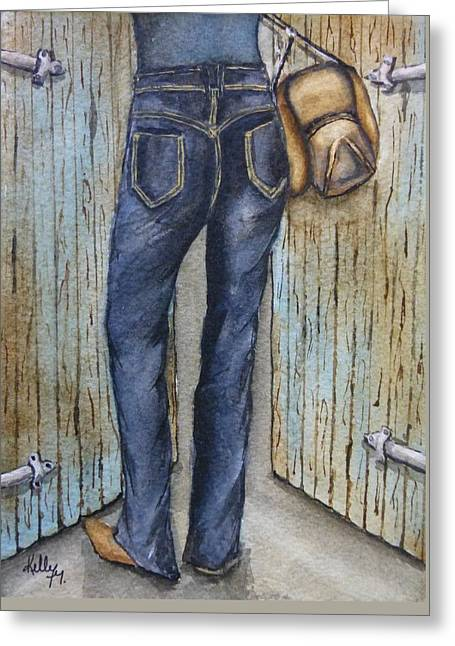 Greeting Card featuring the painting Blue Jeans A Hat And Looking Good by Kelly Mills