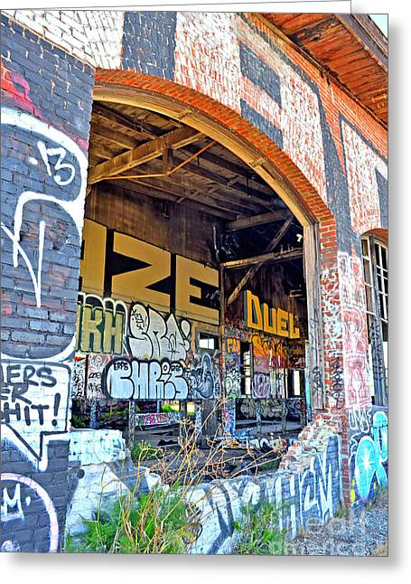 Looking Inside The Old Train Roundhouse At Bayshore Near San Francisco And The Cow Palace IIi  Greeting Card by Jim Fitzpatrick