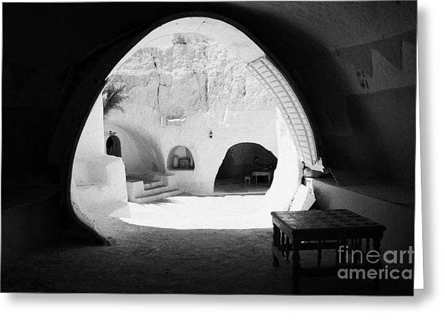 looking out from one of the caves at the Sidi Driss Hotel underground at Matmata Tunisia scene of Star Wars films Greeting Card by Joe Fox