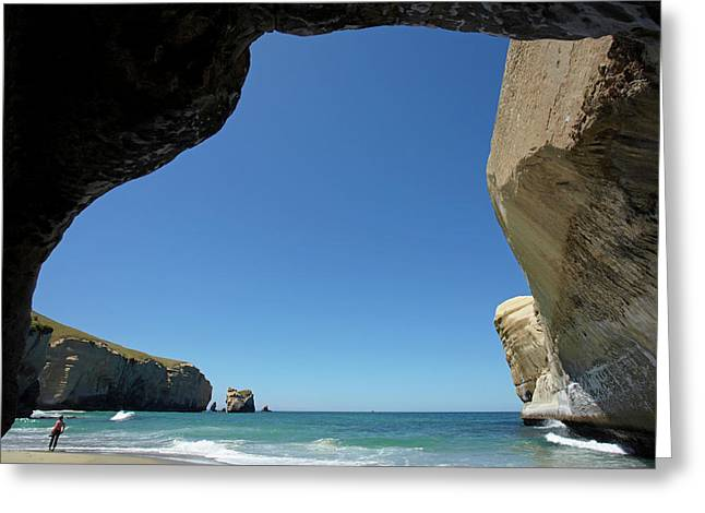 Looking Out From Sea Cave, Tunnel Greeting Card by David Wall