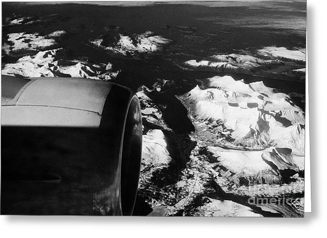 Looking Out Of Aircraft Window Past Engine And Over Snow Covered Fjords And Coastline Of Norway Euro Greeting Card by Joe Fox