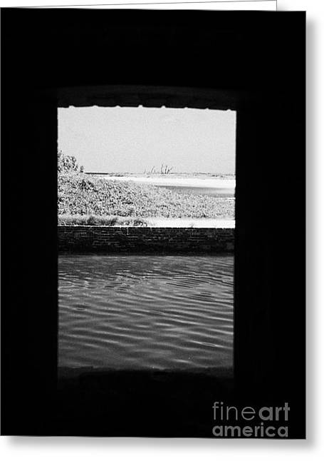 Looking Out Of Embrassure Wall Port In Fort Jefferson Dry Tortugas National Park Florida Keys Usa Greeting Card