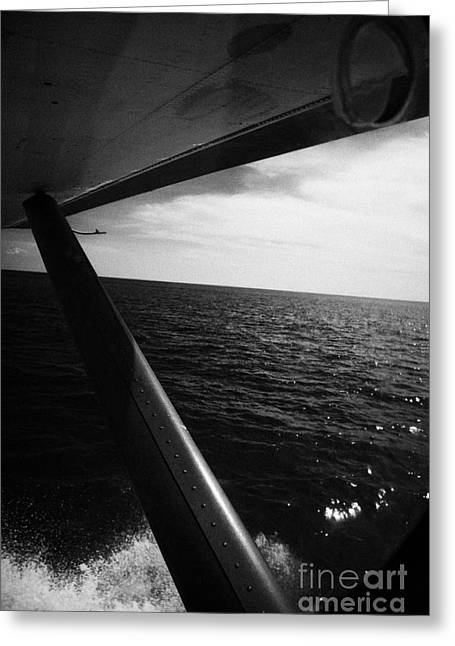 Looking Out Of Seaplane Window Taking Off On Water Dry Tortugas Florida Keys Usa Greeting Card by Joe Fox