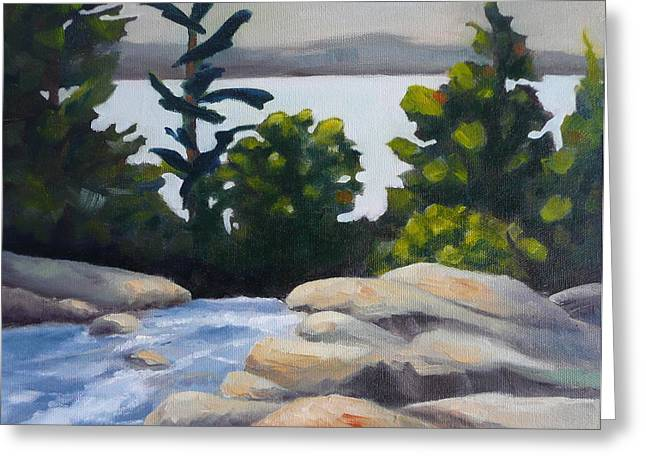Looking Out Over Rosseau Falls Greeting Card by Jo Appleby