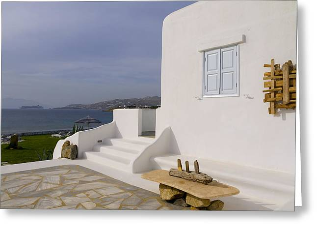 Looking Out To Sea In Mykonos Greeting Card
