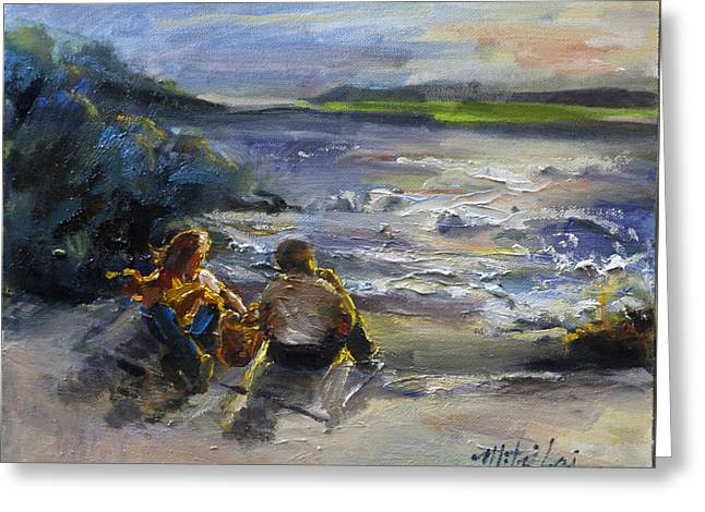 Looking Over Pebble Beach Greeting Card by Mitzi Lai