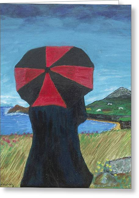 Greeting Card featuring the painting Looking Over The Bay by Martin Blakeley