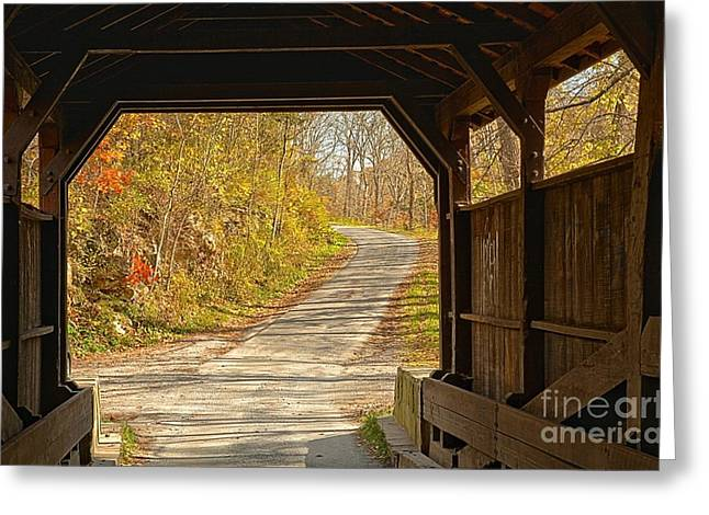 Looking Through Herns Covered Bridge Greeting Card by Adam Jewell