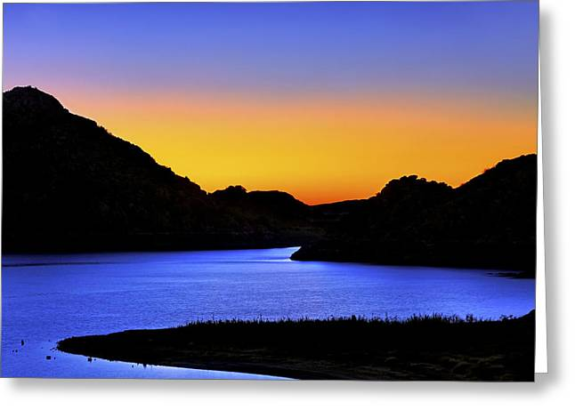 Looking Through The Quartz Mountains At Sunrise - Lake Altus - Oklahoma Greeting Card