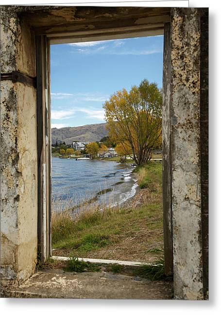 Looking Through Window Of Derelict Greeting Card by David Wall