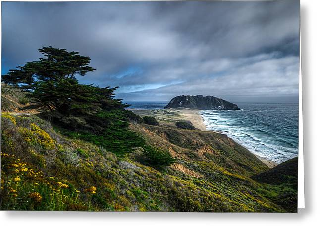 Looking Towards The Big Rock At Big Sur Greeting Card