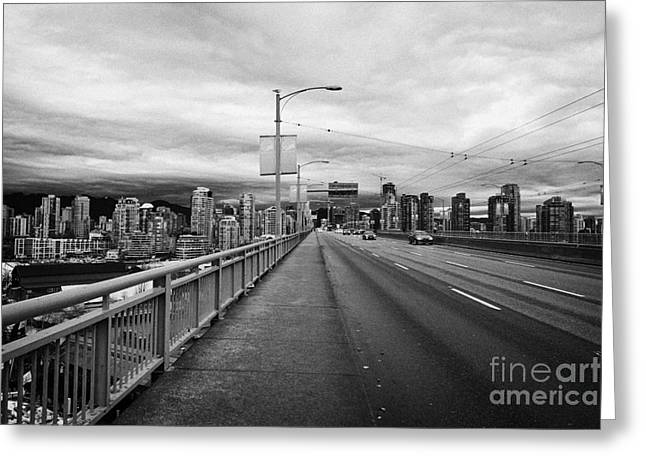 looking towards vancouver downtown from granville street bridge over false creek Vancouver BC Canada Greeting Card by Joe Fox