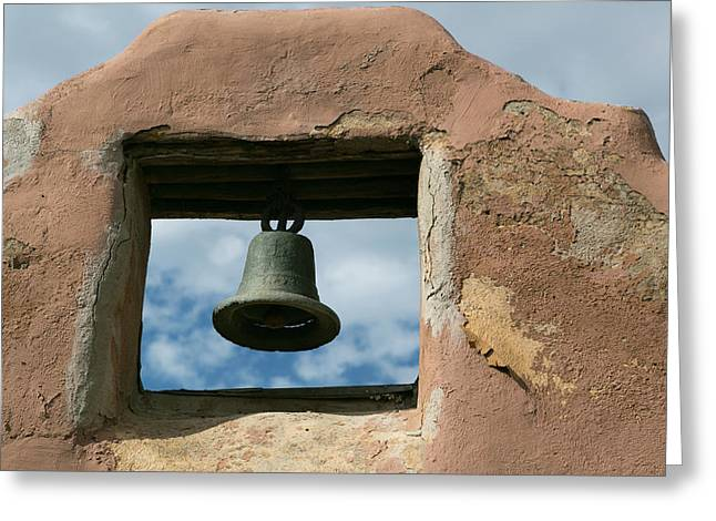 Looking Up At A Church Bell Of An Adobe Greeting Card
