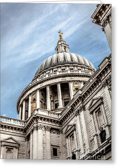 Looking Up At The Dome Of Saint Pauls Cathedral In London Greeting Card