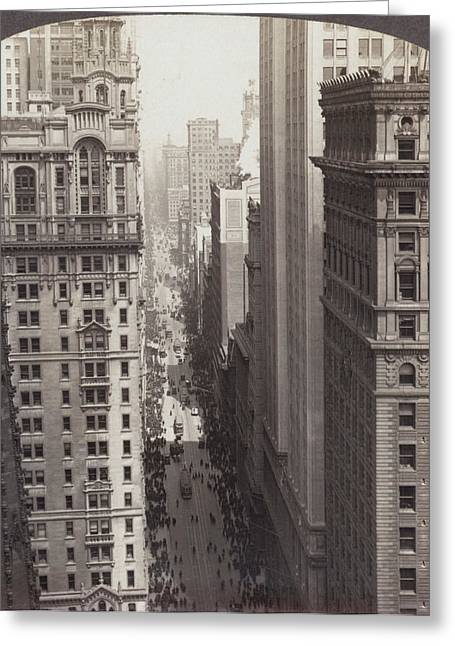Looking Up Broadway In Nyc Greeting Card by Underwood Archives