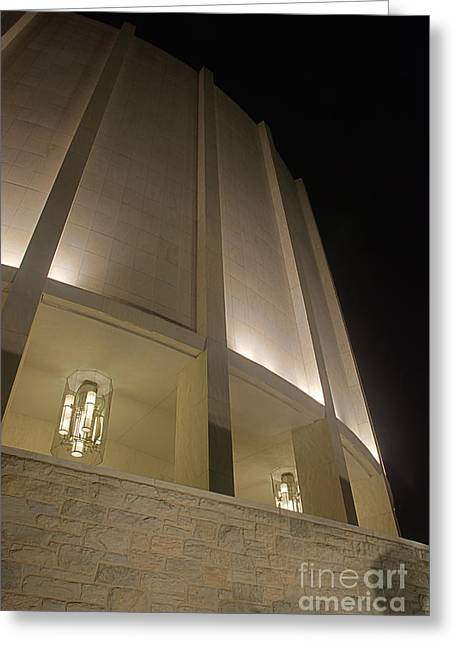 Looking Up Founders Hall At Night Greeting Card by Mark Dodd