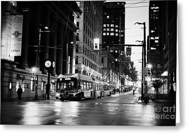 looking up granville from birks place hastings west Vancouver BC Canada Greeting Card