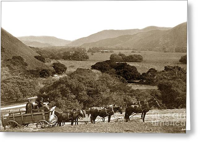 Looking Up The Carmel Valley California Circa 1880 Greeting Card