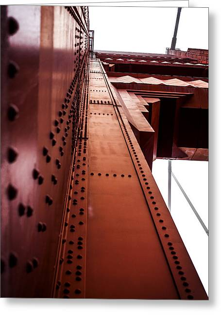 Looking Up The Golden Gate Bridge Greeting Card by SFPhotoStore