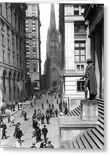 Looking West On Wall Street  Greeting Card