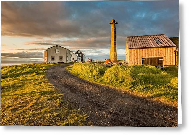 Lookout Tower And Homes, Flatey Island Greeting Card by Panoramic Images