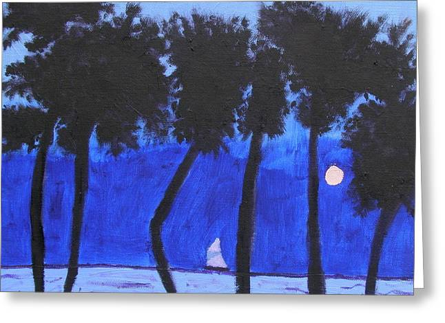 Looming Shore At Night Greeting Card by Artists With Autism Inc