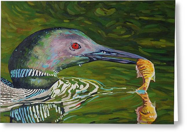 Loon Lunch Greeting Card by Phil Chadwick