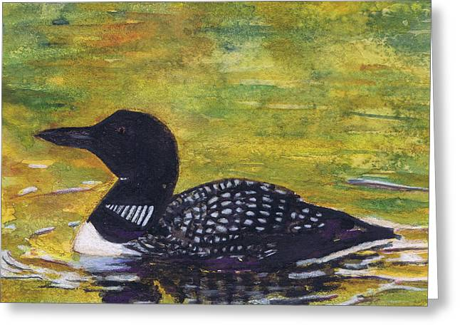 Greeting Card featuring the painting Loon On Jordon Pond Maine by Susan Herbst