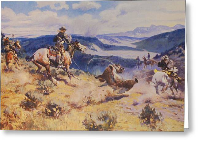 Loops And Swift Horses Are Surer Then Lead Greeting Card by Charles Russell