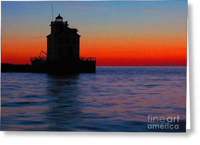 Lorain Lighthouse At Sundown Greeting Card
