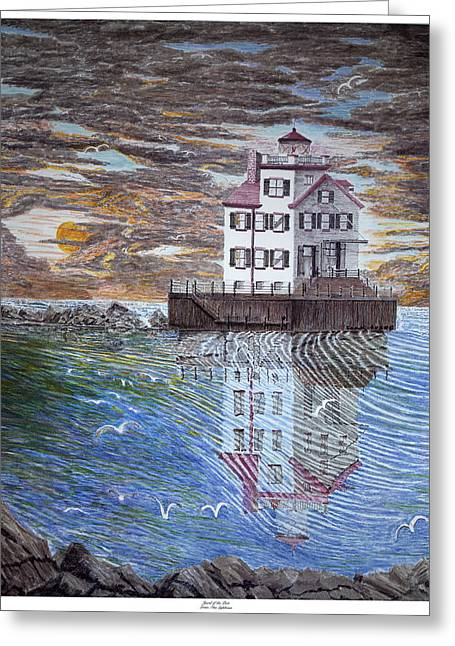 Lorain Lighthouse Greeting Card by Frank Evans