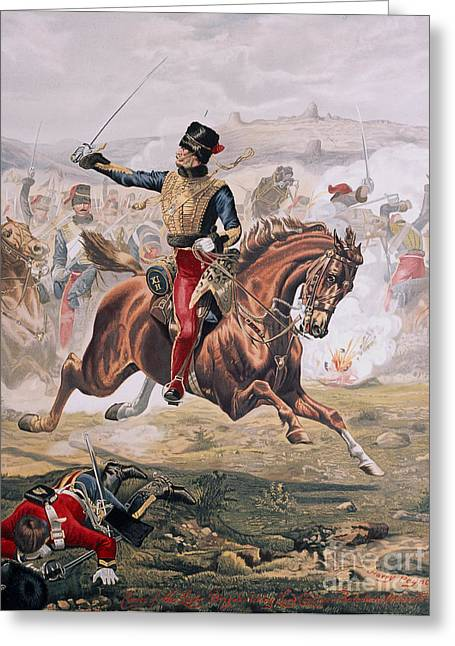 Lord Cardigan Leading The Charge Of The Light Brigade At The Battle Of Balaklava Greeting Card by Henry A Payne