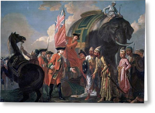 Lord Clive Meeting With Mir Jafar After The Battle Of Plassey Greeting Card by MotionAge Designs
