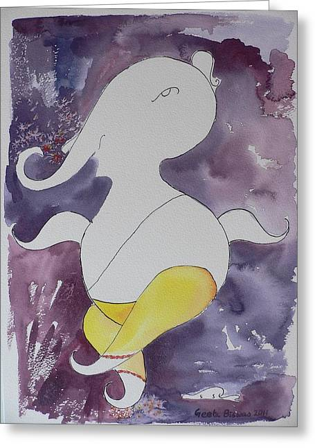 Greeting Card featuring the painting Lord Ganesha by Geeta Biswas