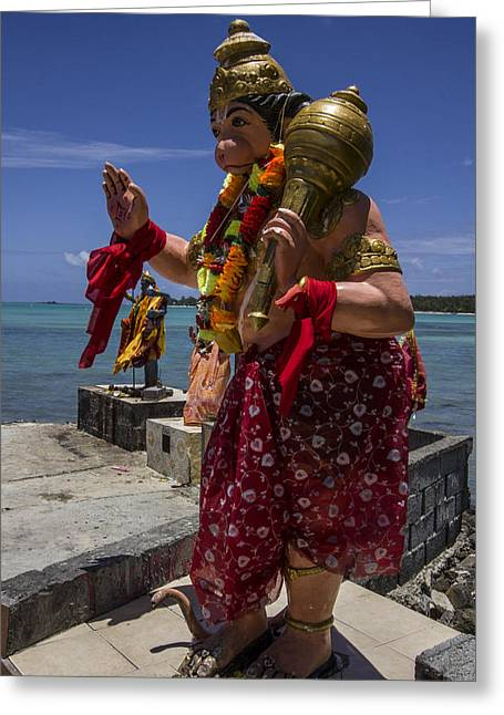 Lord Hanuman With Kali Ma In The Background At The Sea Side Temple In Mon Choisy - Mauritius Greeting Card by Nerisha Ray Singh