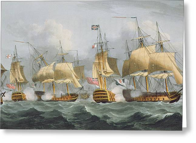 Lord Howe In The Queen Charlotte Greeting Card by Thomas Whitcombe