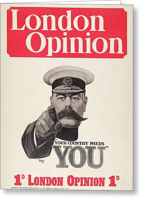 Lord Kitchener Army Recruitment Greeting Card by Library Of Congress