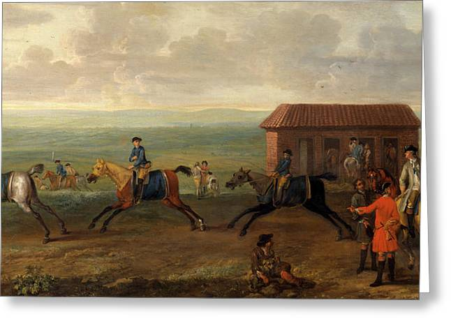 Lord Portmore Watching Racehorses At Exercise On Newmarket Greeting Card by Litz Collection